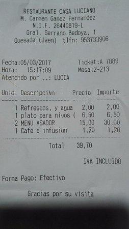 Restaurante Casa Luciano : Precio menú domingo