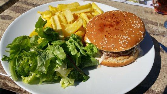 Bolquere, Frankrig: Roquefort burger, steack surgelé très mauvais demandé saigant et servi à point, sauce & frites b