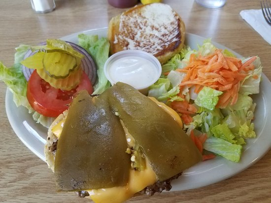 McCloud, CA: The Ortega Cheeseburger with a side salad