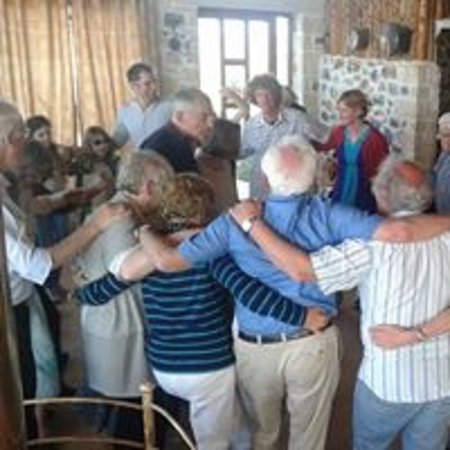 Maroulas, Grecja: Cretan dancing with our guests!!!