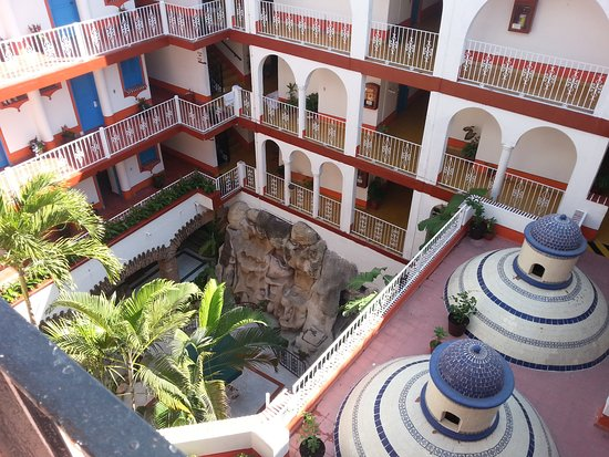 Encino Hotel: view into courtyard from the 4th floor balcony..
