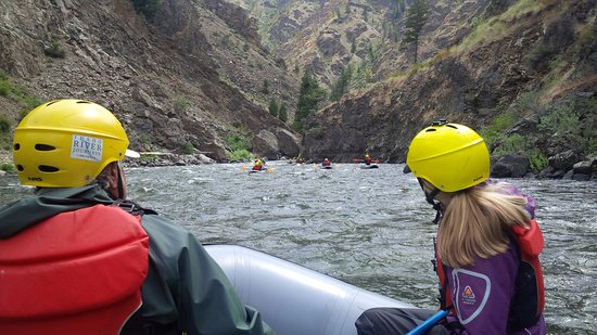 Idaho River Journeys: On the river. Rapids coming around the next bend!