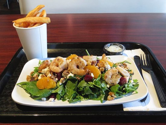 Olio: Grilled Shrimp on the Beet Salad and French Fries