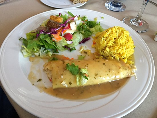 Saint Clair Shores, MI: Tasty chicken crepe, salad and rice at birthday party lunch