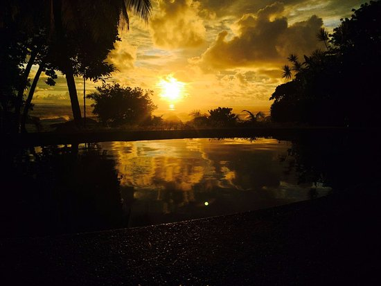 Costa Paraiso: View from the pool at sunset