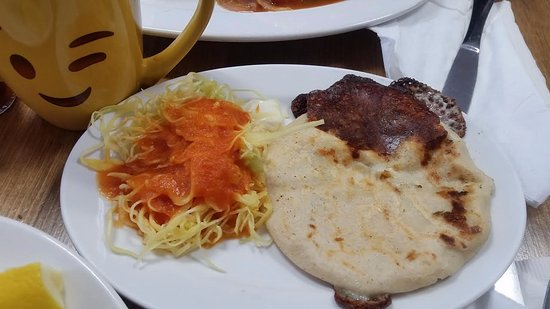 Cheeseloroco Pupusa And Green Cabbage With Tomato Sauce Picture