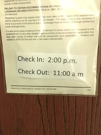 Eunice, LA: Policy States Check in is at 2pm