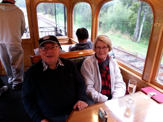 "Queenstown, Australia: Inside the ""Heritage Carriage"" enjoying a glass of bubbly."