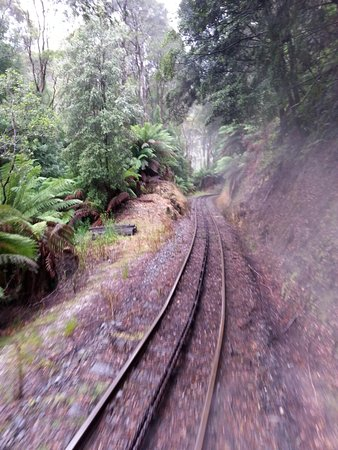 Queenstown, Australia: This view depicts the rack rail and steepness of gradient.