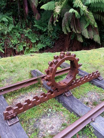 Queenstown, Australia: An example of the rack rail & pinion (Part of the engine workings).