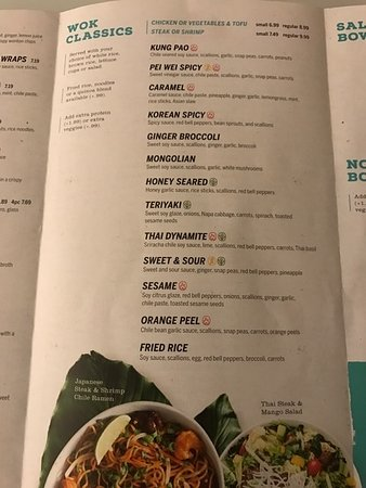 Photos Of The Menu Pei Wei Asian Diner Fort Lauderdale Tripadvisor