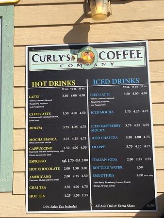 Curly's Coffee Company: Menu! (March 2017)
