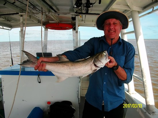 Karumba, Australia: Trophy photo of a big blue salmon I caught out in the Gulf of Carpentaria with Kerry D Charters.