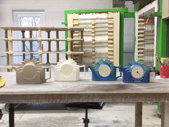 Leyburn, UK: Production Stages of the Countdown Teapot