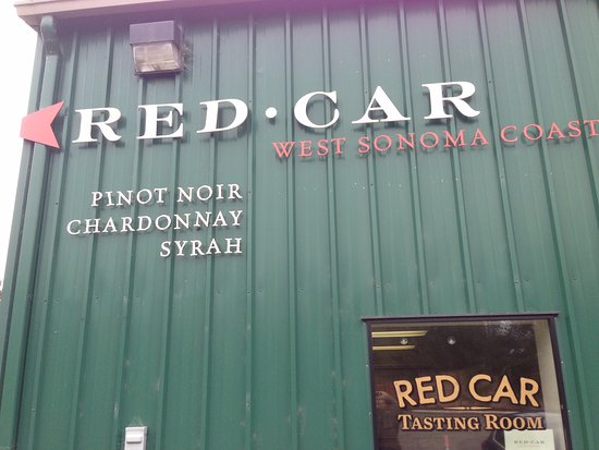 Outside at Red Car Winery Tasting Room in Sebastopol.