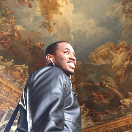Left Bank Scooters: My husband inside Versailles Castle