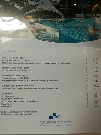 Sauna & Wellness resort Thermae 2OOO : Not even the prices or horaries were written in other language