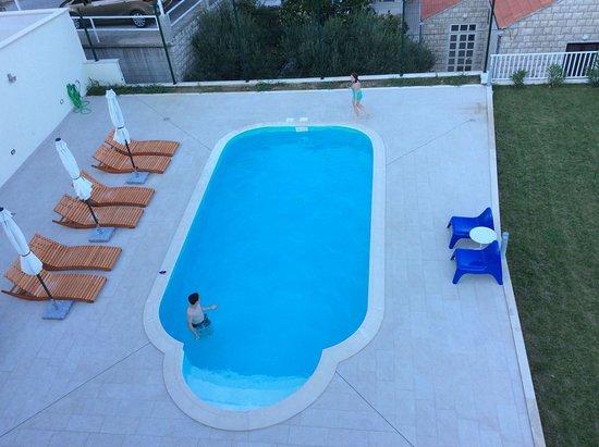 Zaton, Croatia: View of pool from balcony