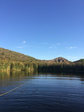 Porcupine Hills Guestfarm: The mountain face from the dam