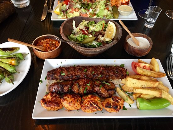 Mixed kebab, with salad and bullet chilli's