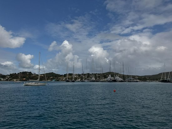 Falmouth, Antigua: View sailing out.