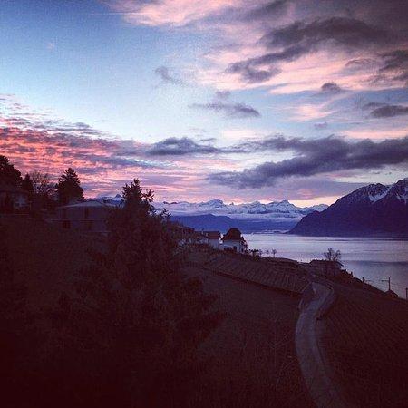 Grandvaux, Suiza: Vue matinale d'un des balcon d'une chambre à l'étage. Calme, sérénité et beauté !