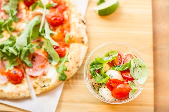 ham arugula pizza and caprese salad ripe tomato. Black Bedroom Furniture Sets. Home Design Ideas
