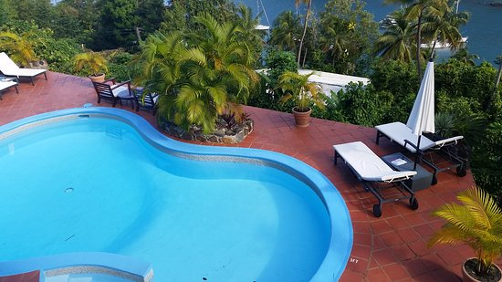 Marigot Palms Luxury Caribbean Guesthouse and Apartments: View of pool from balcony