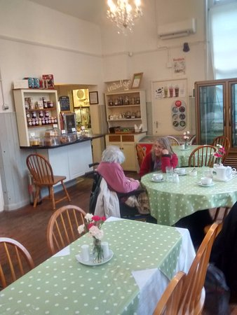 The Old School Tea Room: View to the serving hatch/kitchen