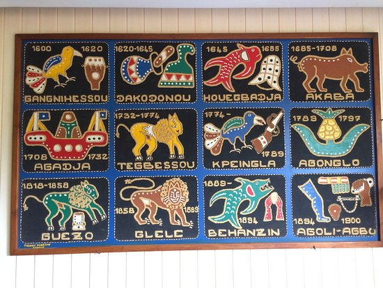 Abomey, Benín: Traditional appliqué embroidery showing the succession of Dahomeyan kings