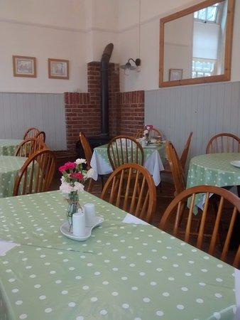 The Old School Tea Room: Stove in the corner.