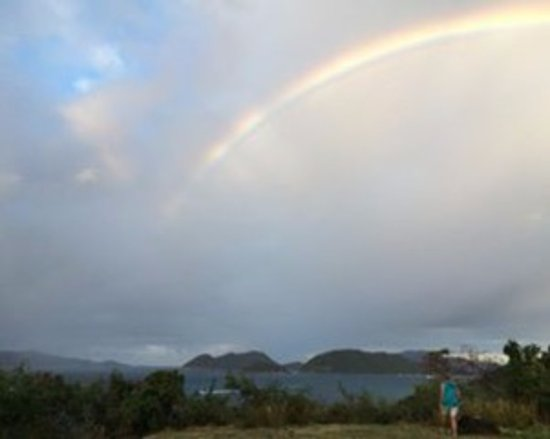 Peace Hill Windmill: an amazing rainbow over the BVI  in the eastern sky of Peace Hill, at the Sunday program