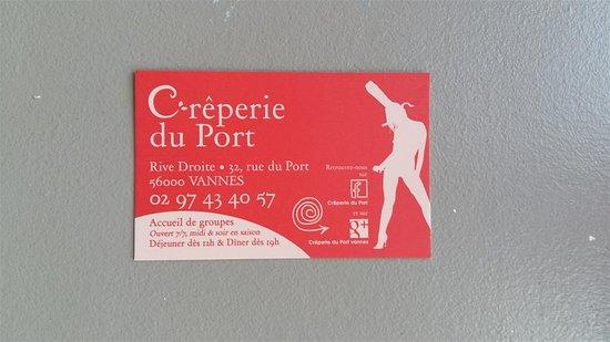 Creperie Du Port Carte De Visite