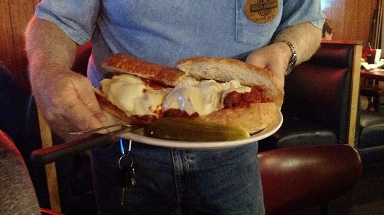 Terry's Place: Meatball sub, I am a good eater and with some fries only ate half