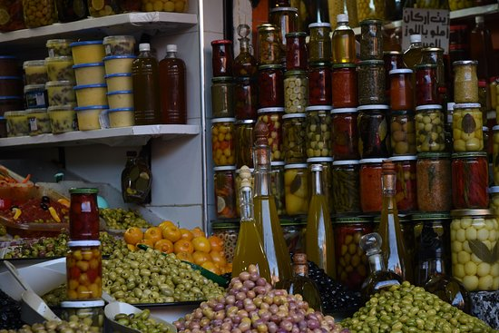 Riad Les Trois Mages: olives for sale in the medina