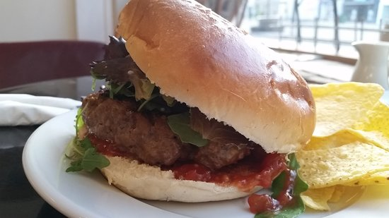 More Coffee Co: Basic Beef Patty - but also available as veggie or with choice of cheese
