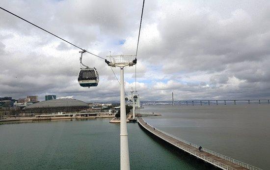 Parque das Nações: De la cabine ,vue sur le pont et le centre commercial