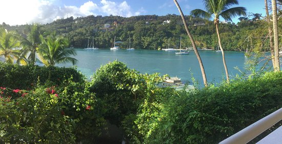 Marigot Beach Club and Dive Resort: View from our room's veranda, on which we spent many hours.