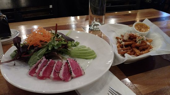 Forest Grove, OR: Ahi Salad and Sweet Potato Fries