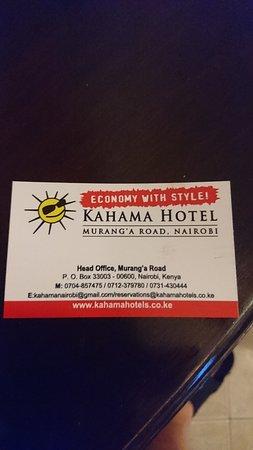 Kahama Hotel Nairobi: Visitekaart