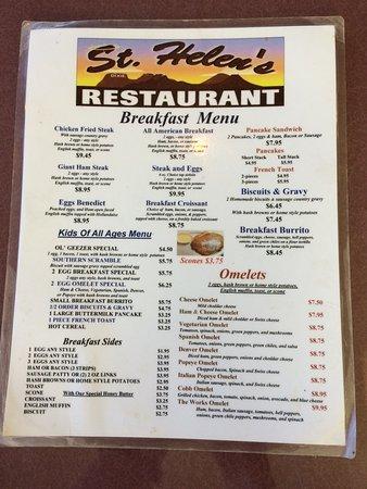 St Helen's of Washington: Breakfast menu side 1