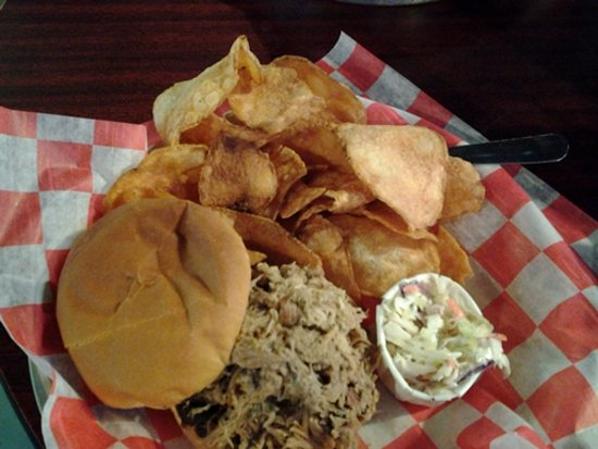 Phil's Bar-B-Que Pit: Chopped Pork Barbecue Sandwich w/ mayo slaw & chips