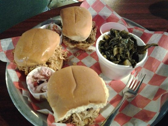 Phil's Bar-B-Que Pit: BBQ Slider Trio w/ vinegar slaw & collards