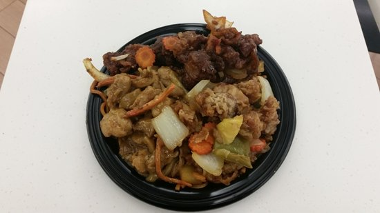 Phillip, Australia: Large plate - satay chicken, chicken teriyaki and sweet and sour pork with noodles.