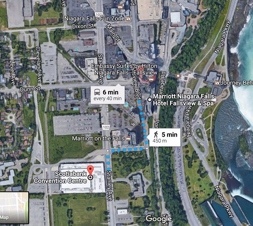 Niagara Falls Marriott Fallsview Hotel Spa Location And Map To Convention Center