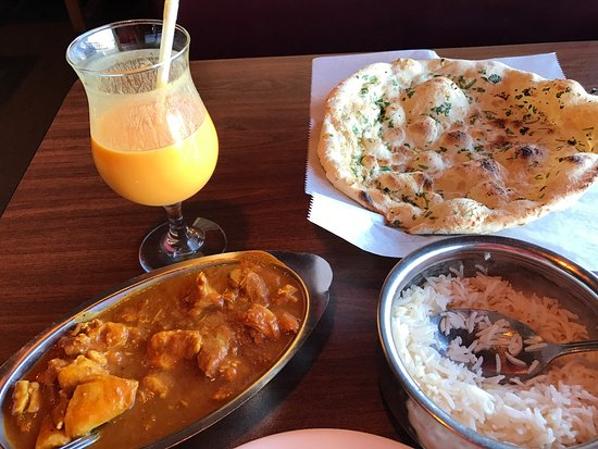 South Salt Lake, UT: Chicken curry, plain white rice, garlic naan bread and mango lassi.