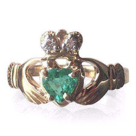 Belleek, UK: Emerald 14k Gold Claddagh Ring. Made in Ireland