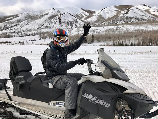 Snowmobile Adventures at Thousand Peaks: Incredible view overlooking the entire valley.