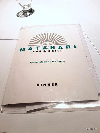 Matahari Bar & Grill: Menu cover