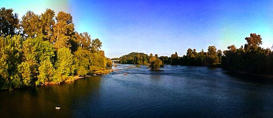 Willamette River bike trail: From the Autzen bike bridge